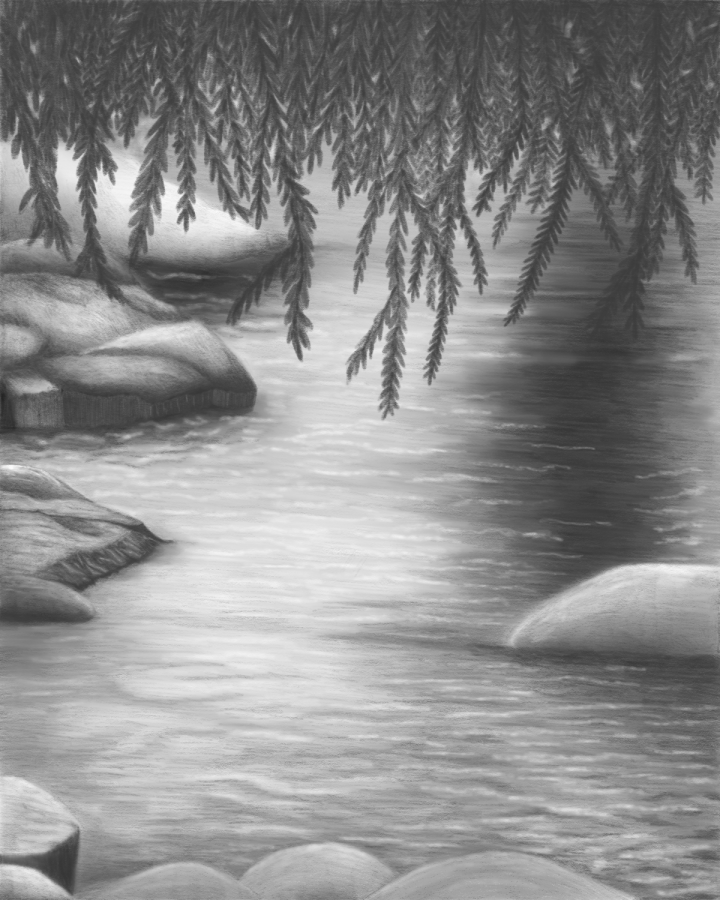 Drawing a River Rock Scene